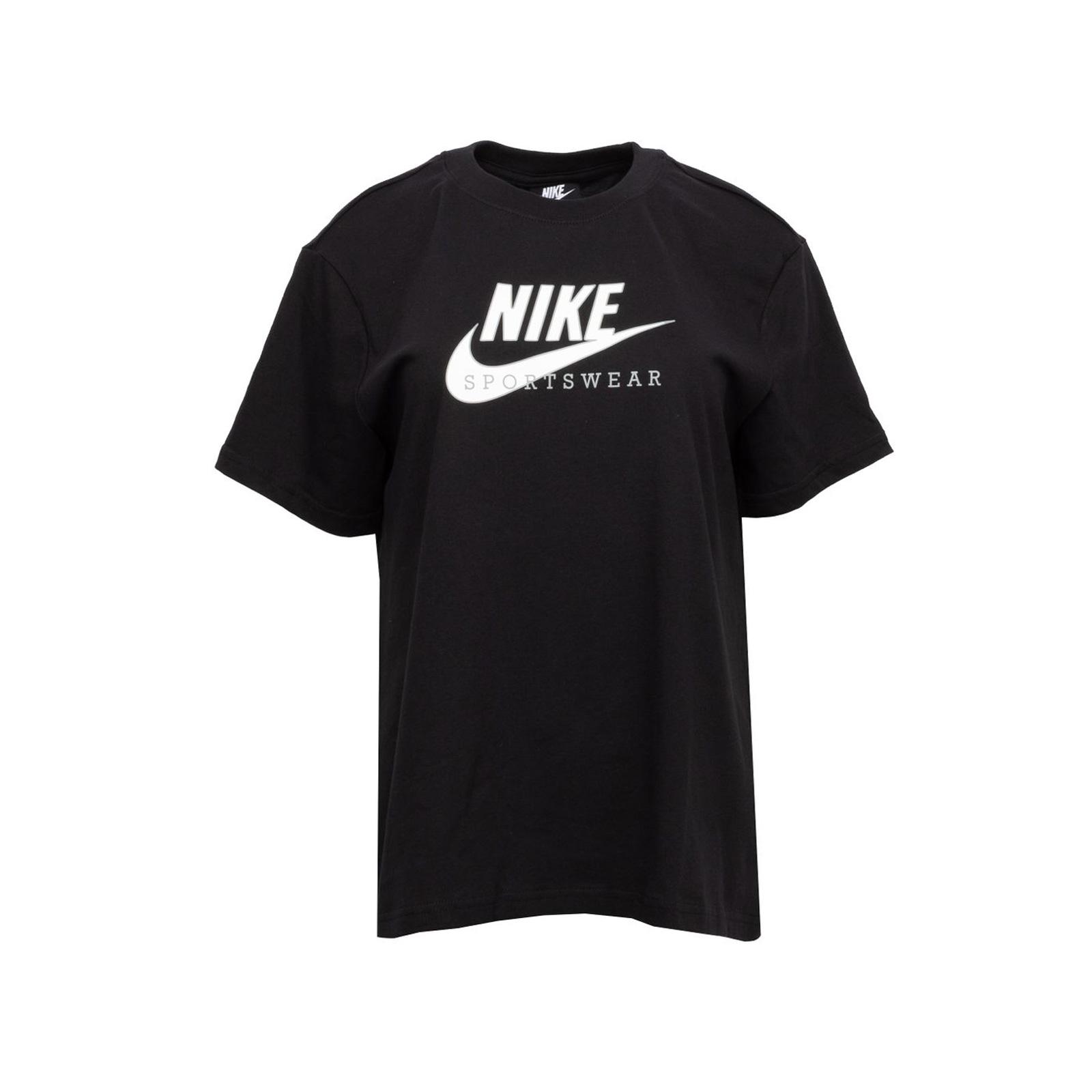 Nike - W NSW HERITAGE SS TOP HBR - BLACK/WHITE/MIDNIGHT NAVY/WHITE - Nike -