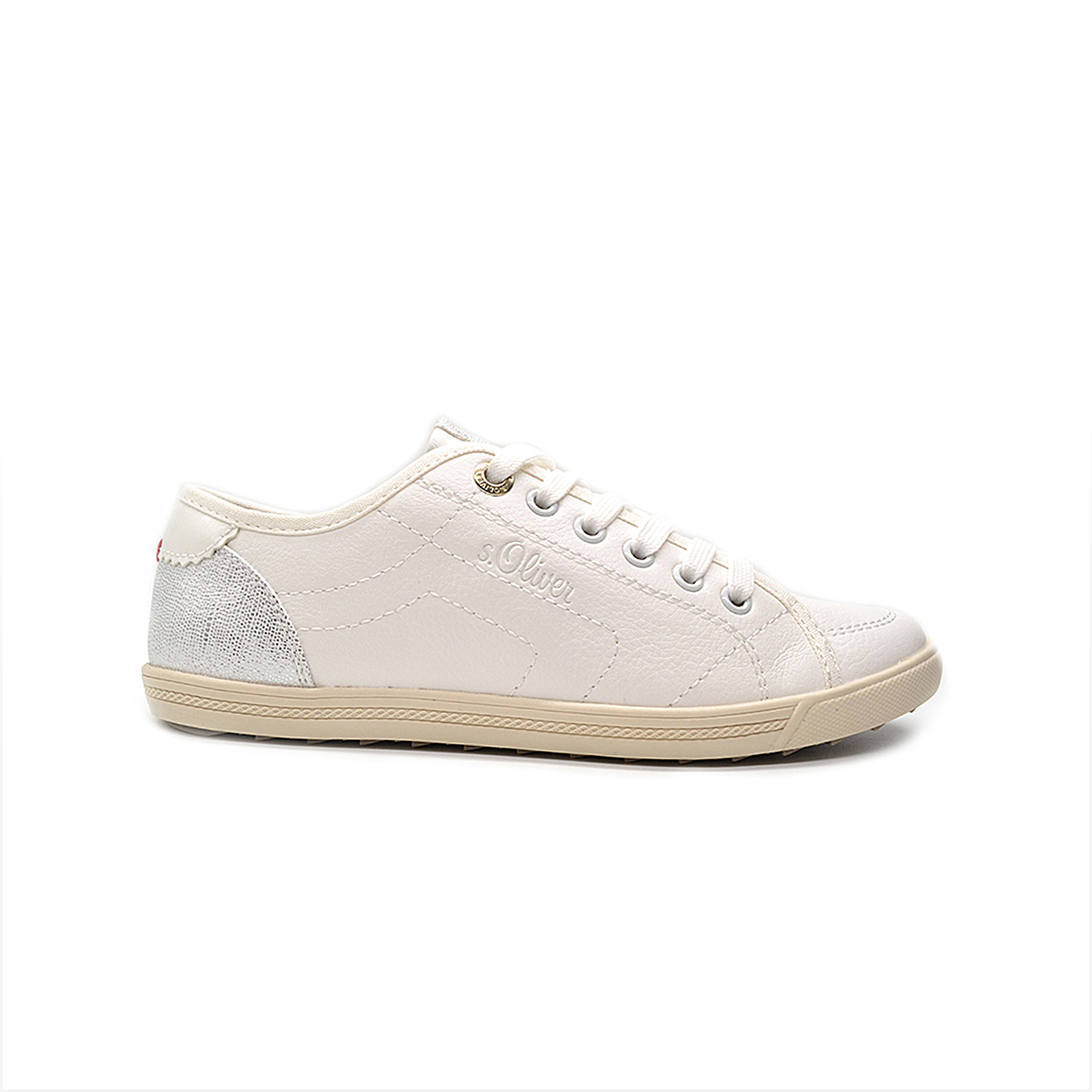 S. oliver - SNEAKER ΠΑΠΟΥΤΣΙ LOW - WHITE/SILVER